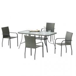 Set de acero Carballo mesa de 150 cm + 4 sillones