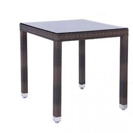 Mesa 90x90 cm aluminio/cristal/ polyrattan