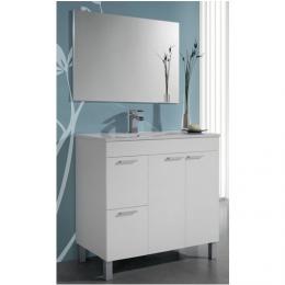 Mueble lavabo blanco 80x80x46 2 puertas 2 cajones blanco + espejo