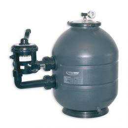 "Filtro de piscina Brasil 500 salida lateral 500 - con valvula 1-1/2"" + manómetro. 10 m3/h"