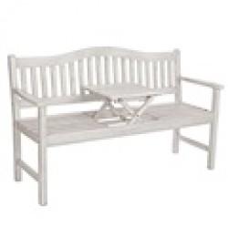 Banco con mesa y asientos madera color blanco